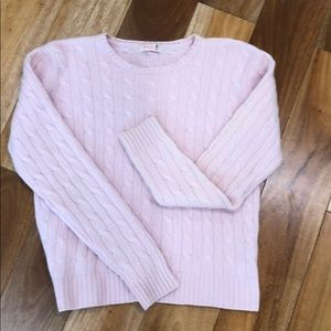 Cable Light Pink Cashmere Sweater